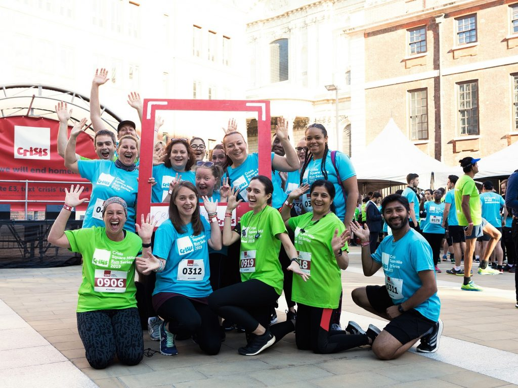 The Gower School team posing with frame at the Crisis Square Mile Run, June 2019