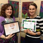 The Gower School Principal Miss Emma Gowers with Head of Operations Miss Haigh with Healthy Schools certificates 2019