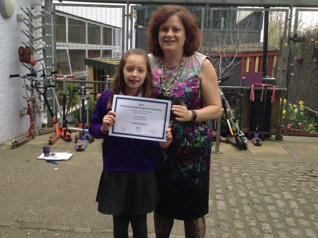 The Gower School Principal Miss Gowers with a pupil with certificate for Highly Commended at the Independent Schools Association's national Shakespeare Monologues competition 2019