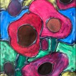 The Gower School pupil artwork stained glass poppies